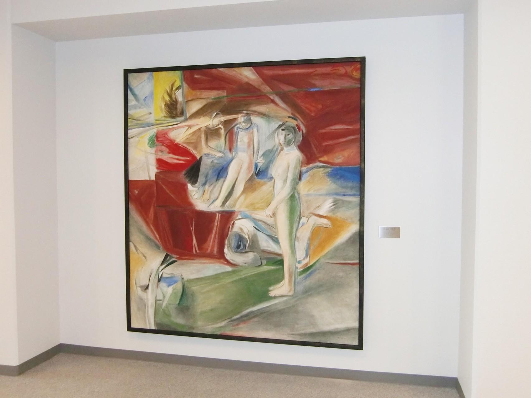 「黄色い遠景」 185×165cm フレスコ 個展 1985年 山添耕治 京都芸大 名誉教授