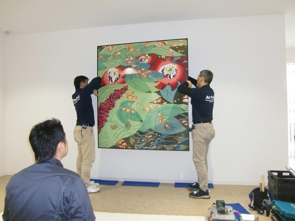 「花風来」臈纈染 160×140cm  堀内晴美 日本新工芸家連盟会員