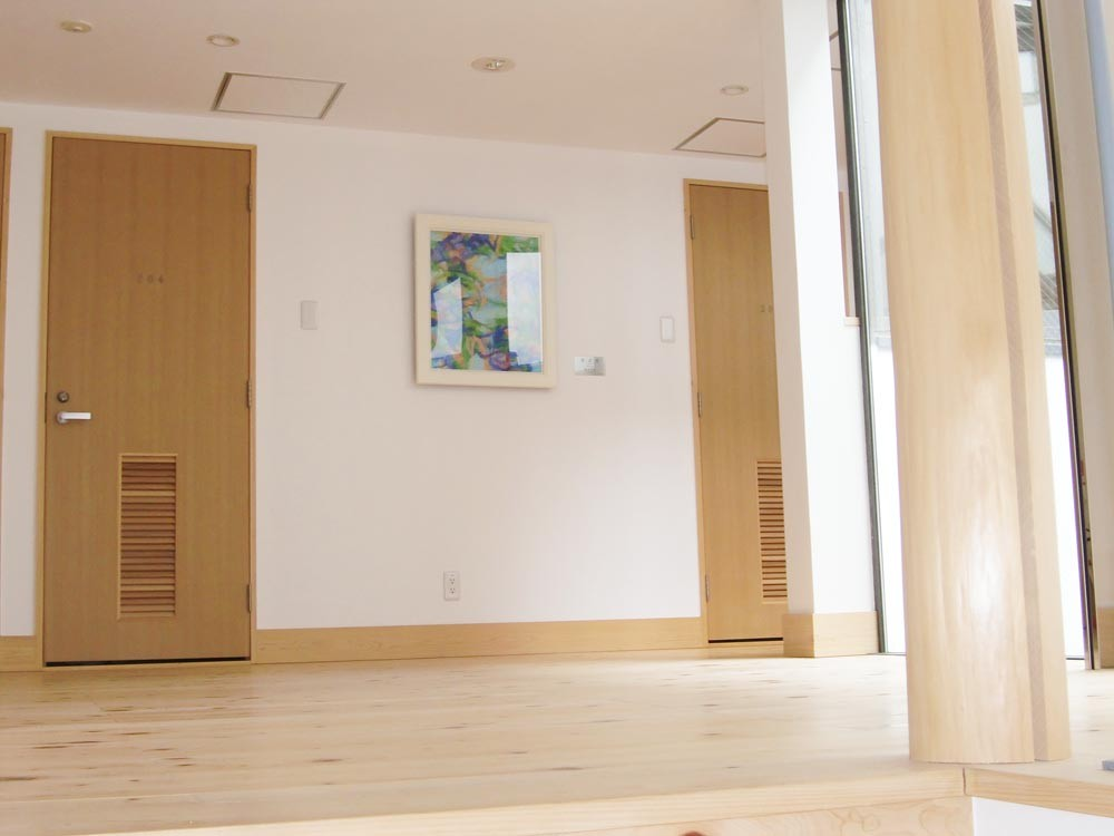 2階廊下「芽ぶき」森本岩雄 油彩画