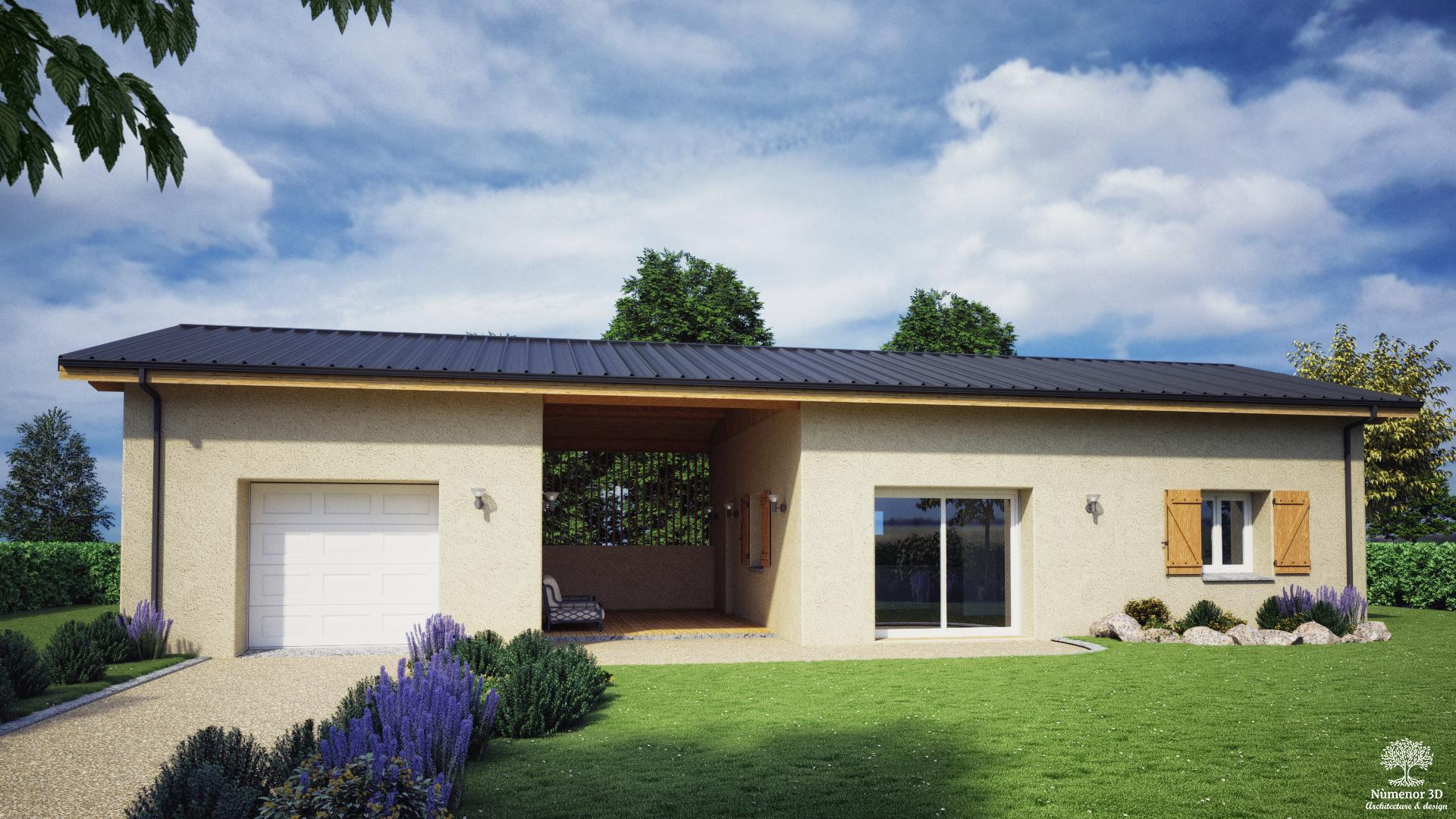perspective extérieure pour un Permis de construire d'une maison en construction paille