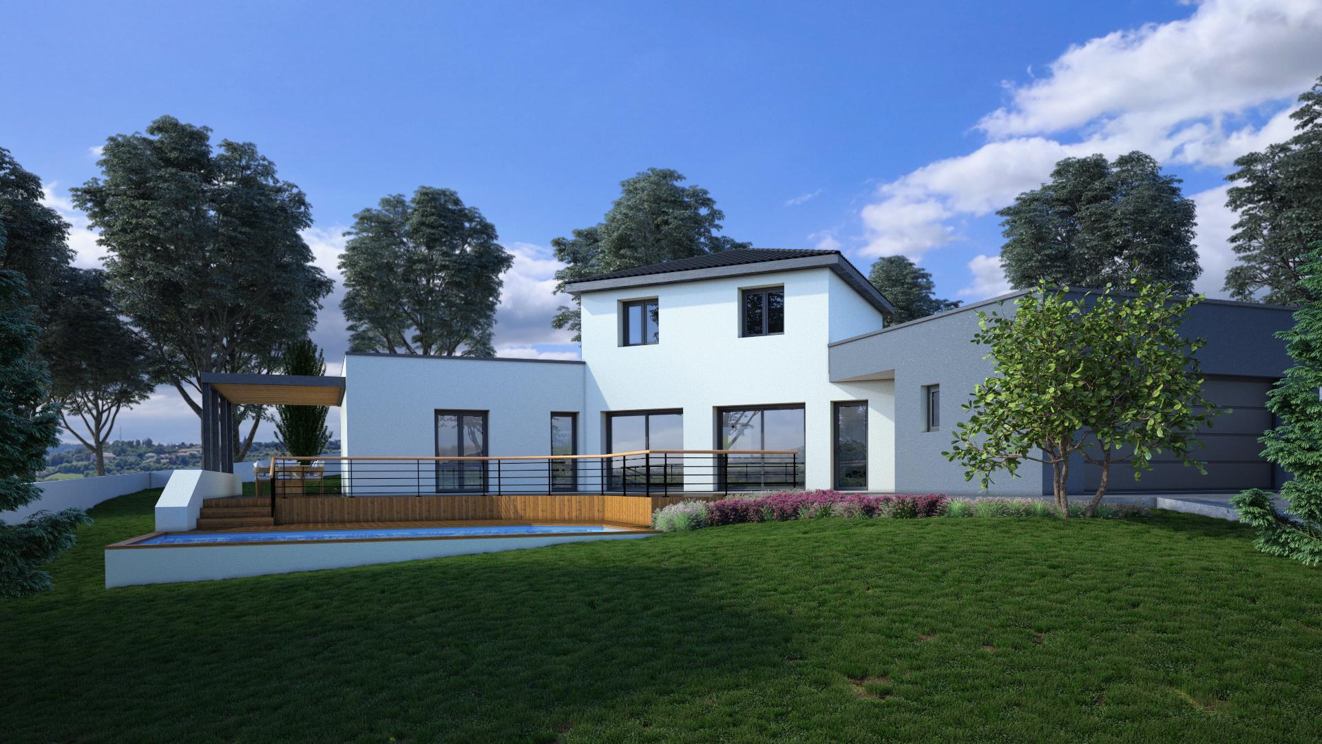perspective extérieure d'un Avant-projet d'une maison contemporaine en Haute-loire