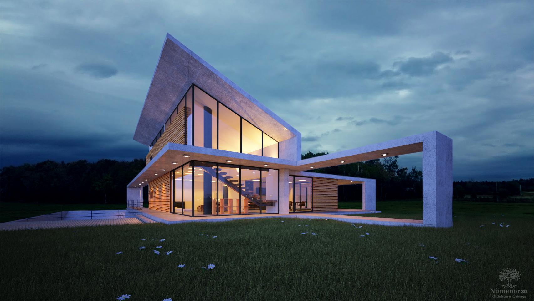 Perspective extérieure d'une maison contemporaine