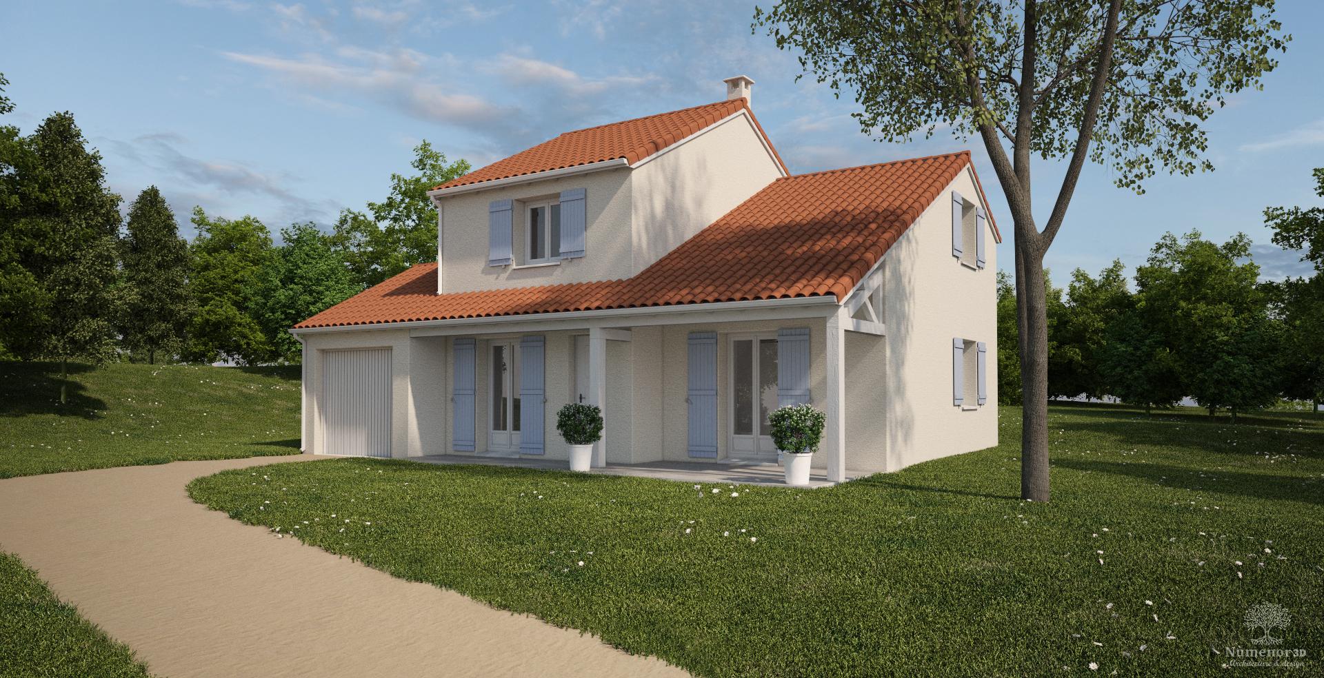 perspective extérieure pour un Permis de construire  d'une maison traditionnelle en Haute-loire