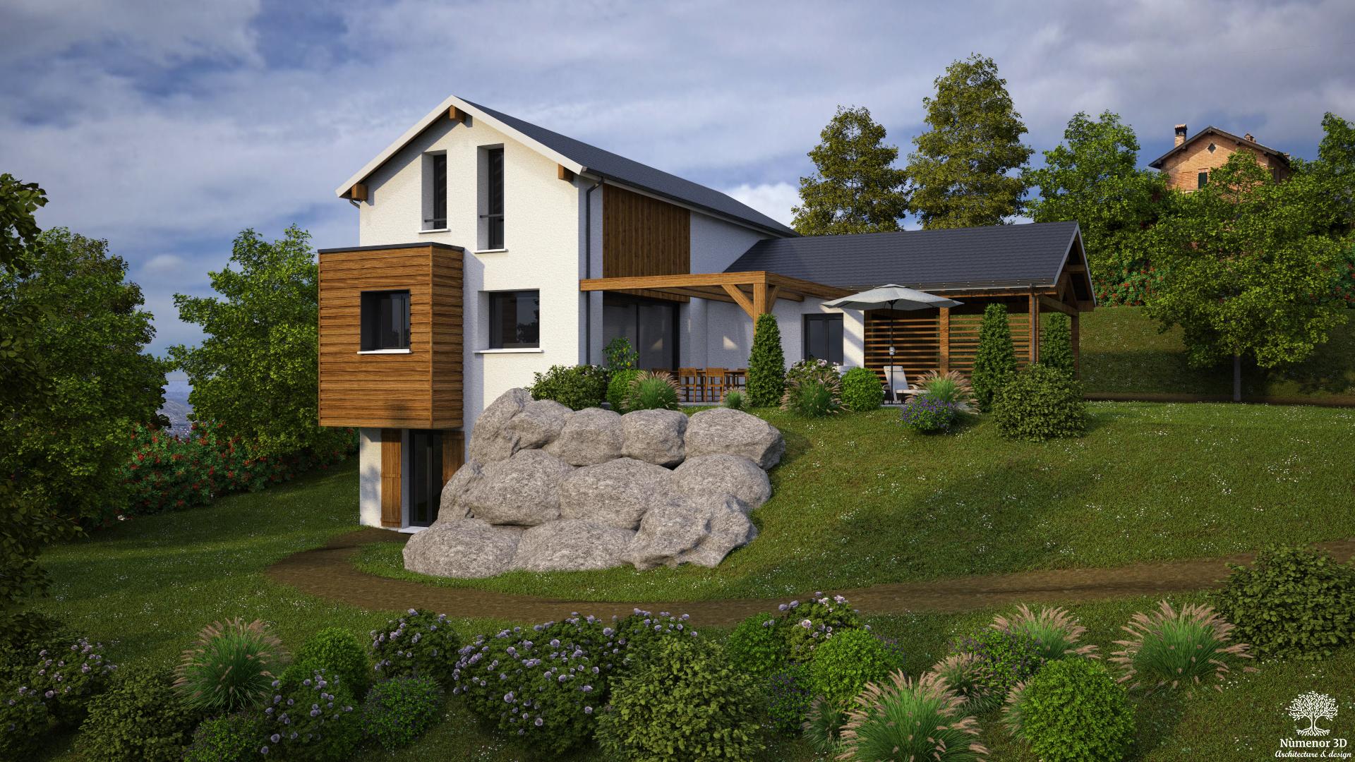 perspective extérieure pour un Permis de construire d'une maison contemporaine