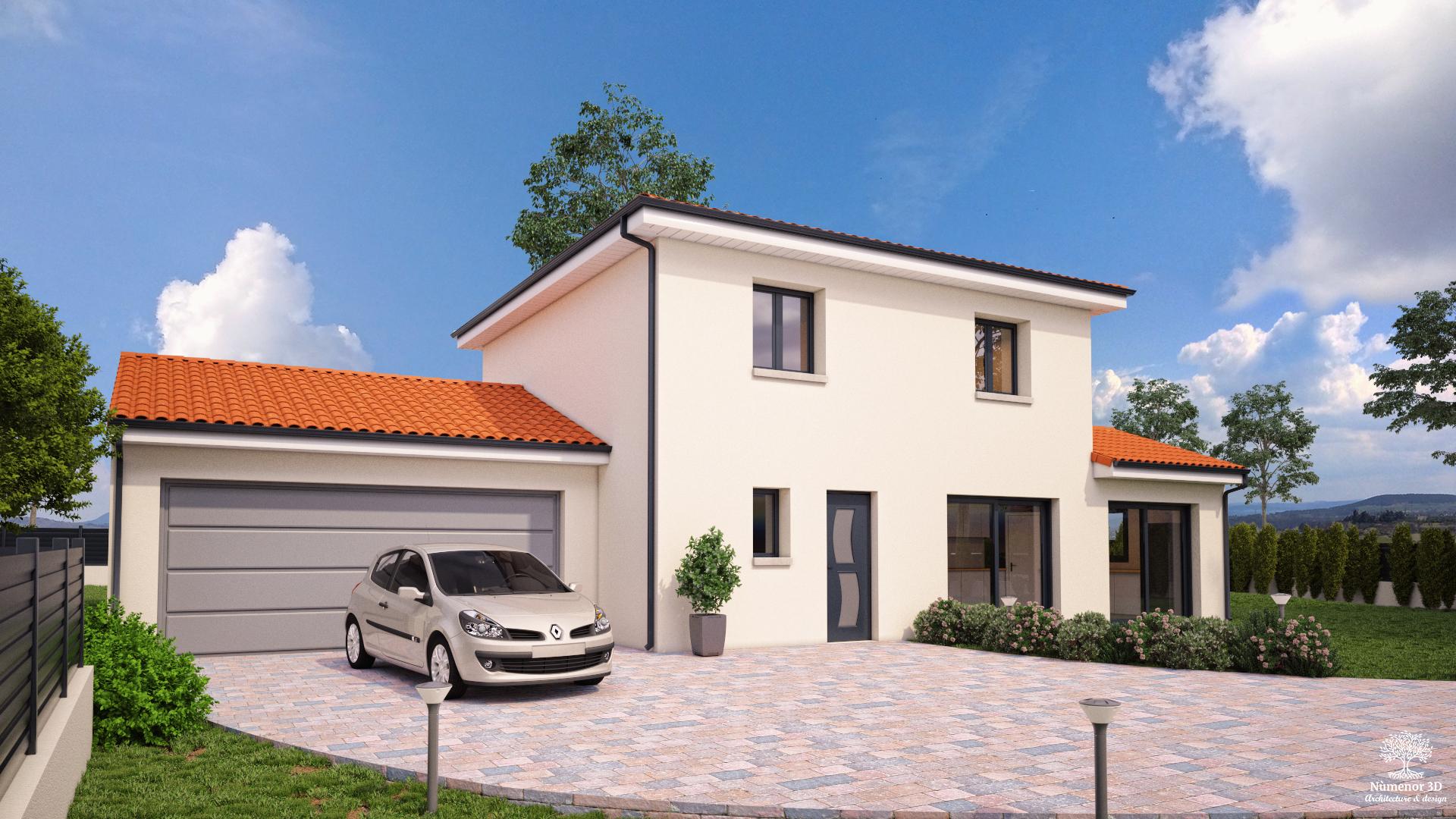 perspective extérieure pour un Permis de construire d'une maison contemporaine en Haute-loire