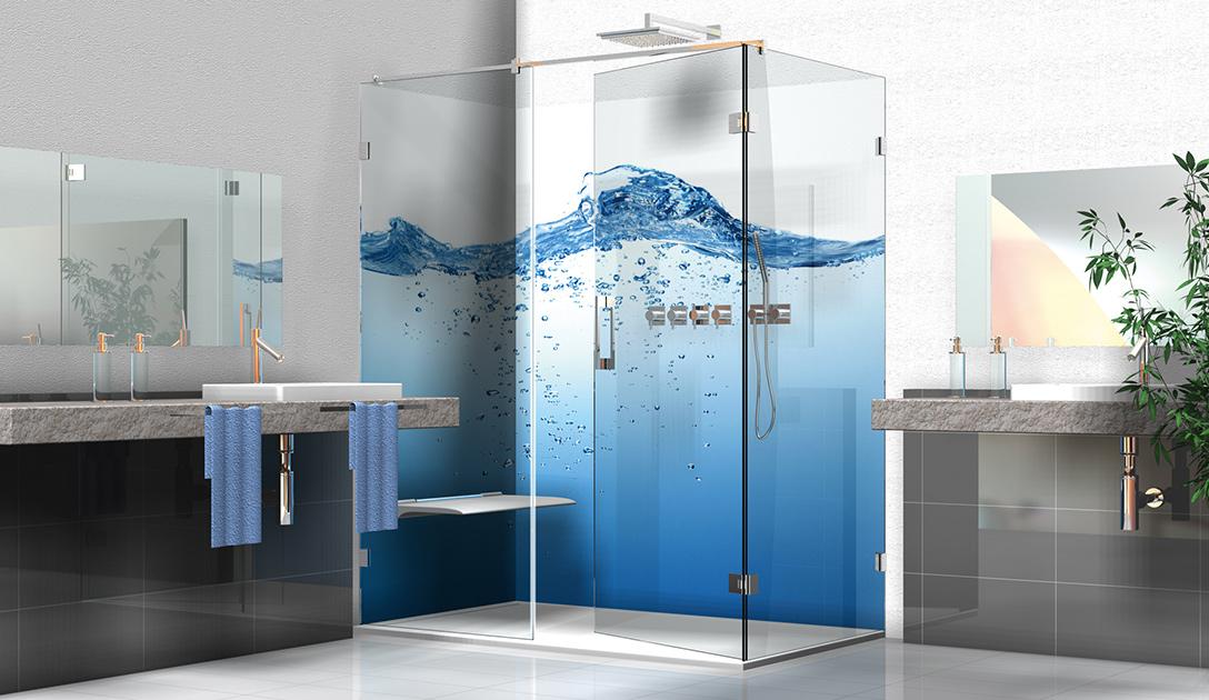 Individuelle Duschkabinen mit Digitaldruck. Eine Riesenauswahl an Motiven steht Ihnen im Bildarchiv shutterstock.com zur Verfügung.