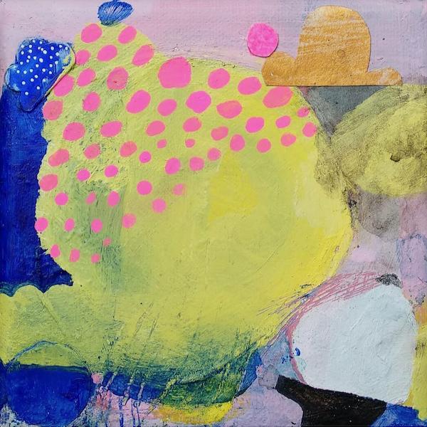 Acrylfarben, Tusche, Collage auf Leinwand, 13x13 cm, 2021