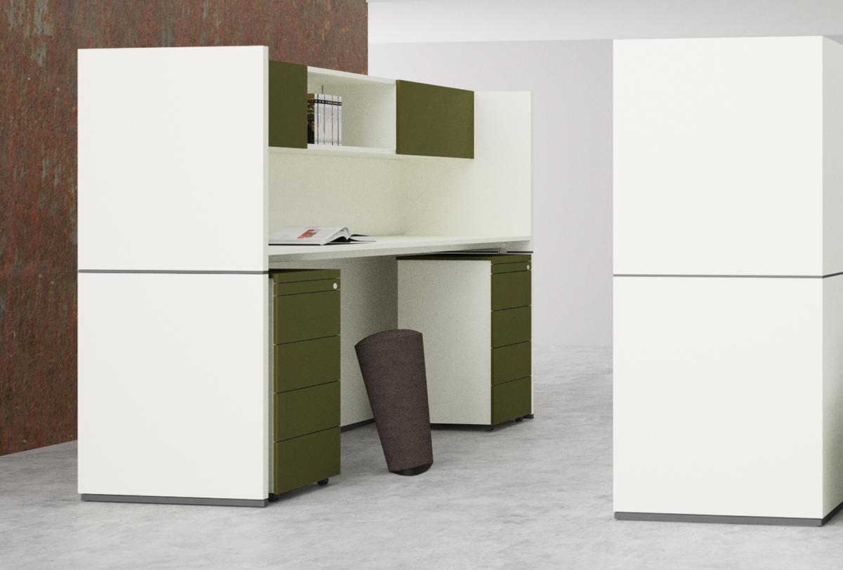 Die Raumnische kann z. B. mit Arbeitsplatten in Sitz- oder Stehhöhe und eingehängten Schränken ausgestattet werden.