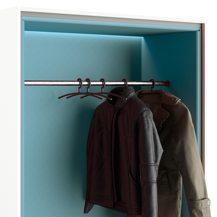 An optional cloakroom rod can be integrated into the beach chair. All booths can be equipped with LED lighting.