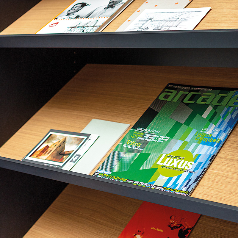Angled shelves for brochures can be integrated according to customer specifications.