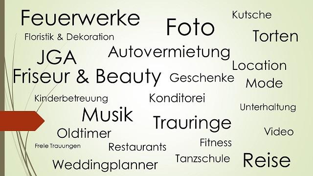 Auszug der verschiedenen Hochzeitsdienstleister-Themen