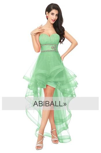 Kleid vorne kurz hinten lang in grün