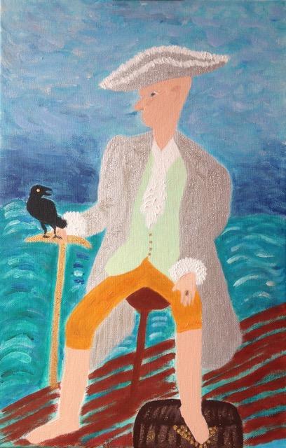 je t'attends - l'homme au corbeau- copyright michele-letellier