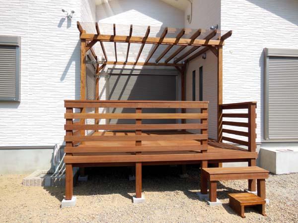 ポリカ平板屋根(透明) ウリン製ウッドデッキ フェンスシンプル横板