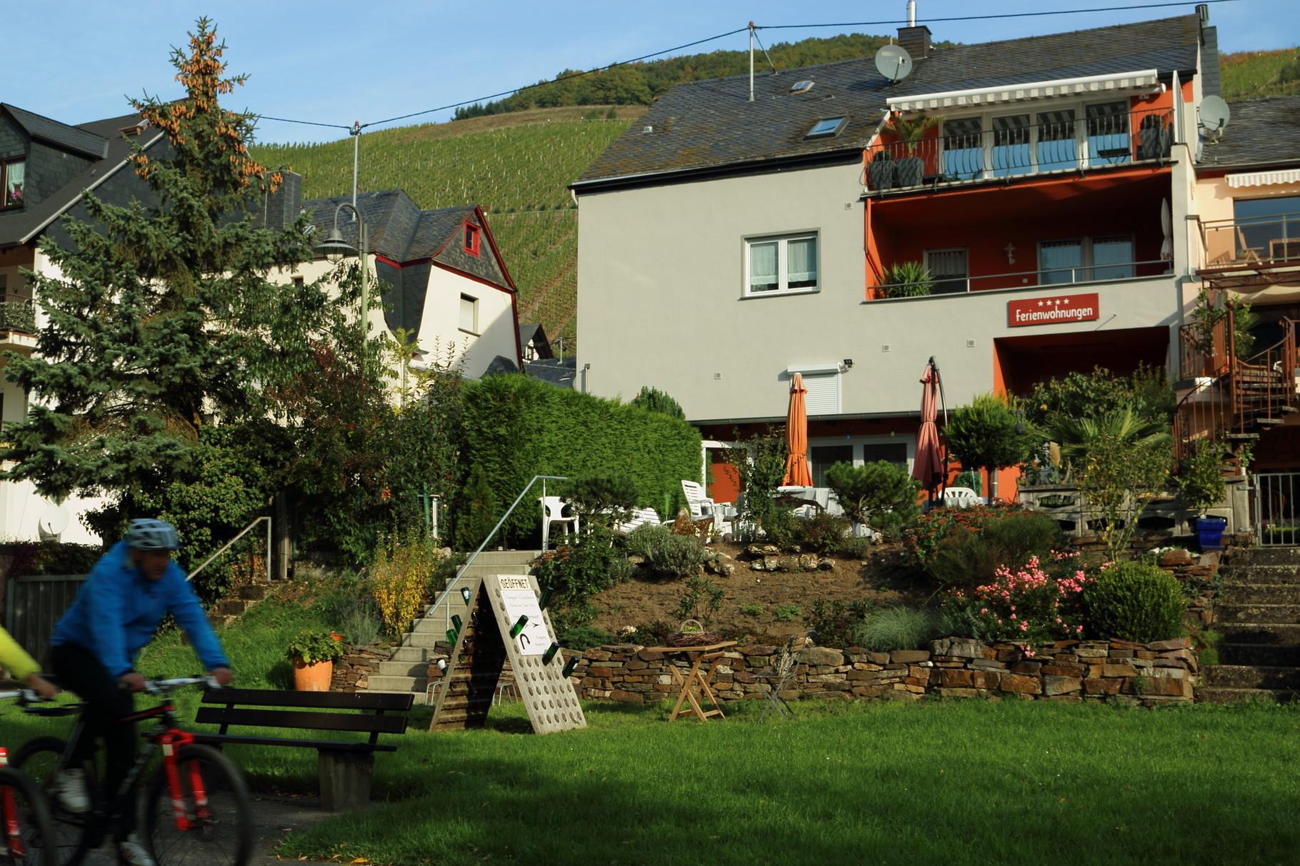 Unser Weingut-Gästehaus mit dem Mosel-Radweg im Vordergrund