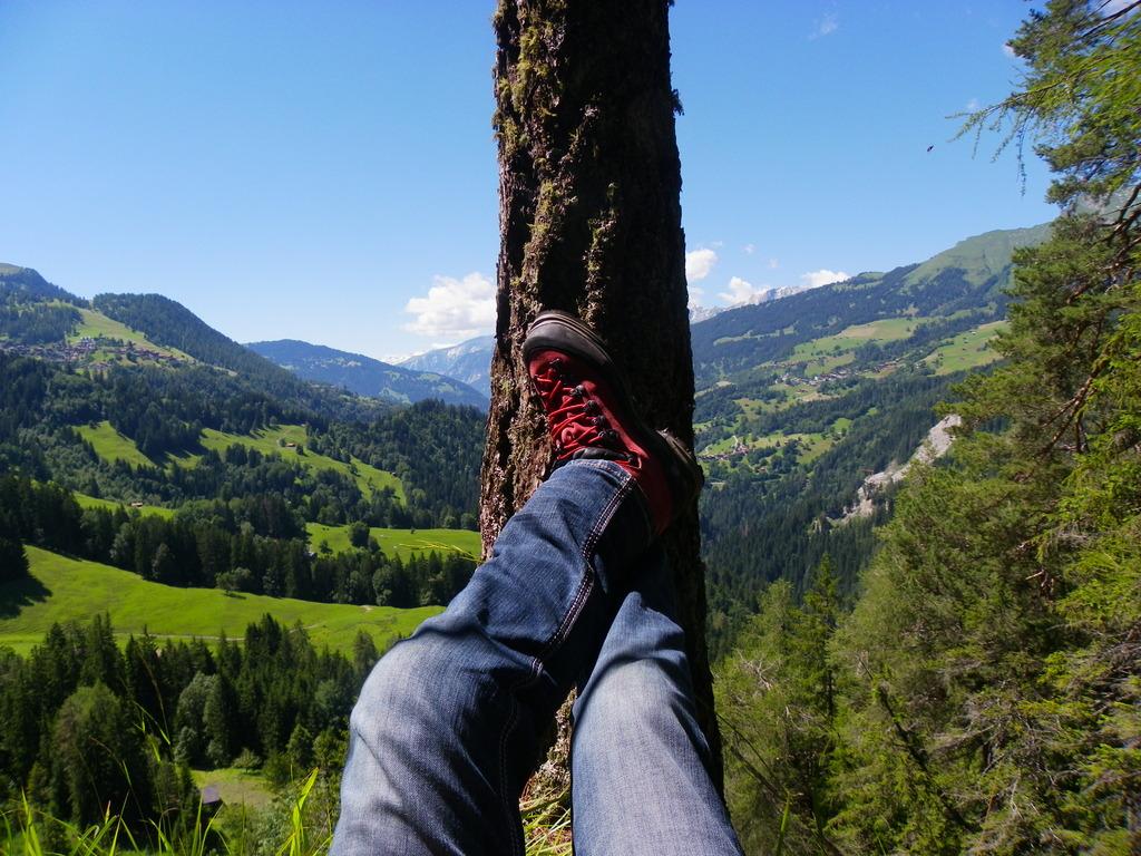 Wanderträume... Links Blick auf Tschiertschen, rechts Lüen, Castiel und Calfreisen