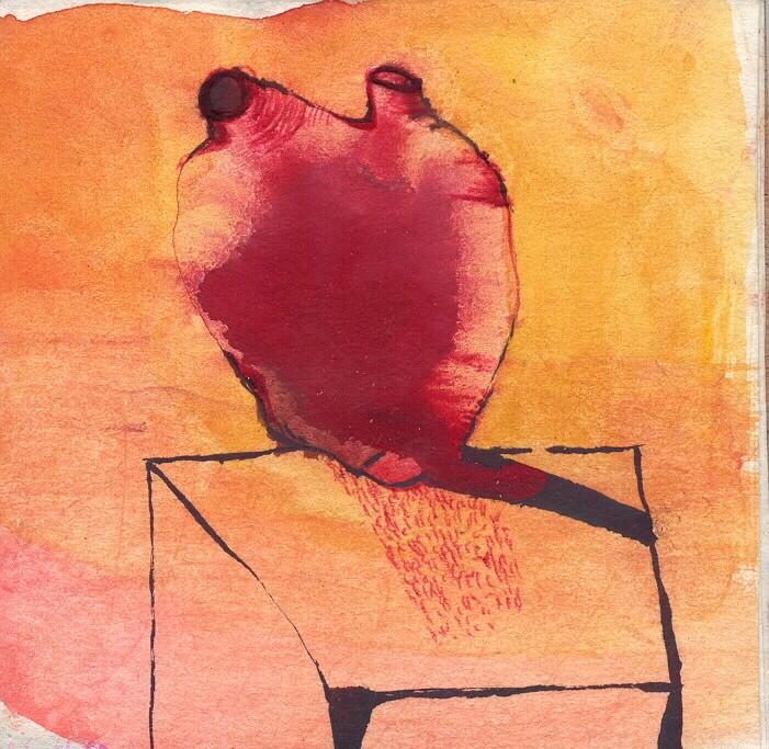 """""""paysage anatomique n°7"""", 2001, 9x9, gouache sur papier marouflé sur bois  ©"""