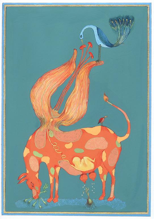 """""""éclosion"""", 2004, 23x30, gouache et aquarelle sur papier  ©"""