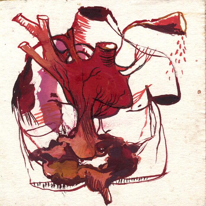 """""""paysage anatomique n°5"""", 2001, 9x9, gouache sur papier marouflé sur bois  ©"""