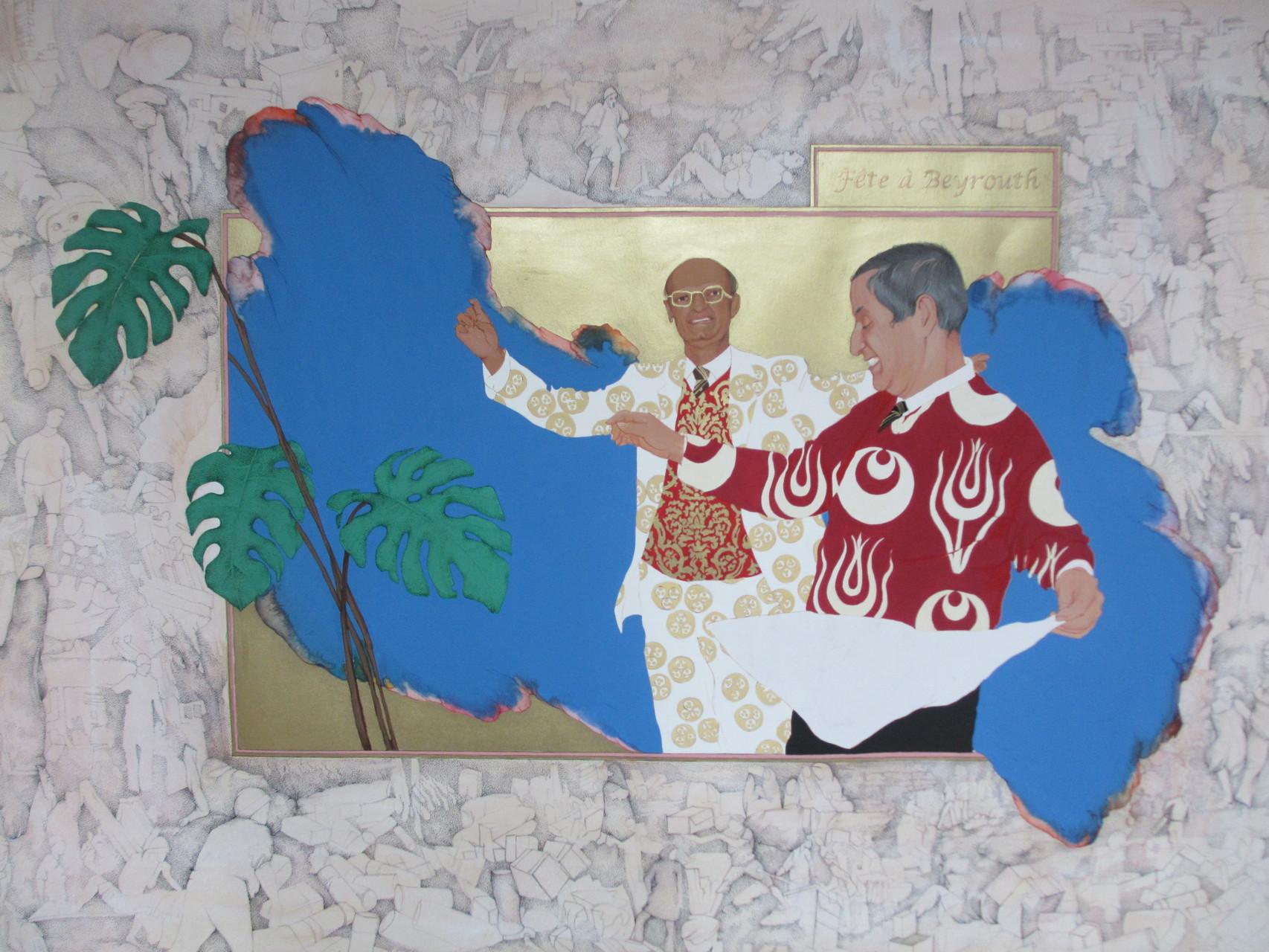 """""""Fête à Beyrouth"""", 2014, 75x55, encre noire, gouache, aquarelle sur papier Vinci ©"""
