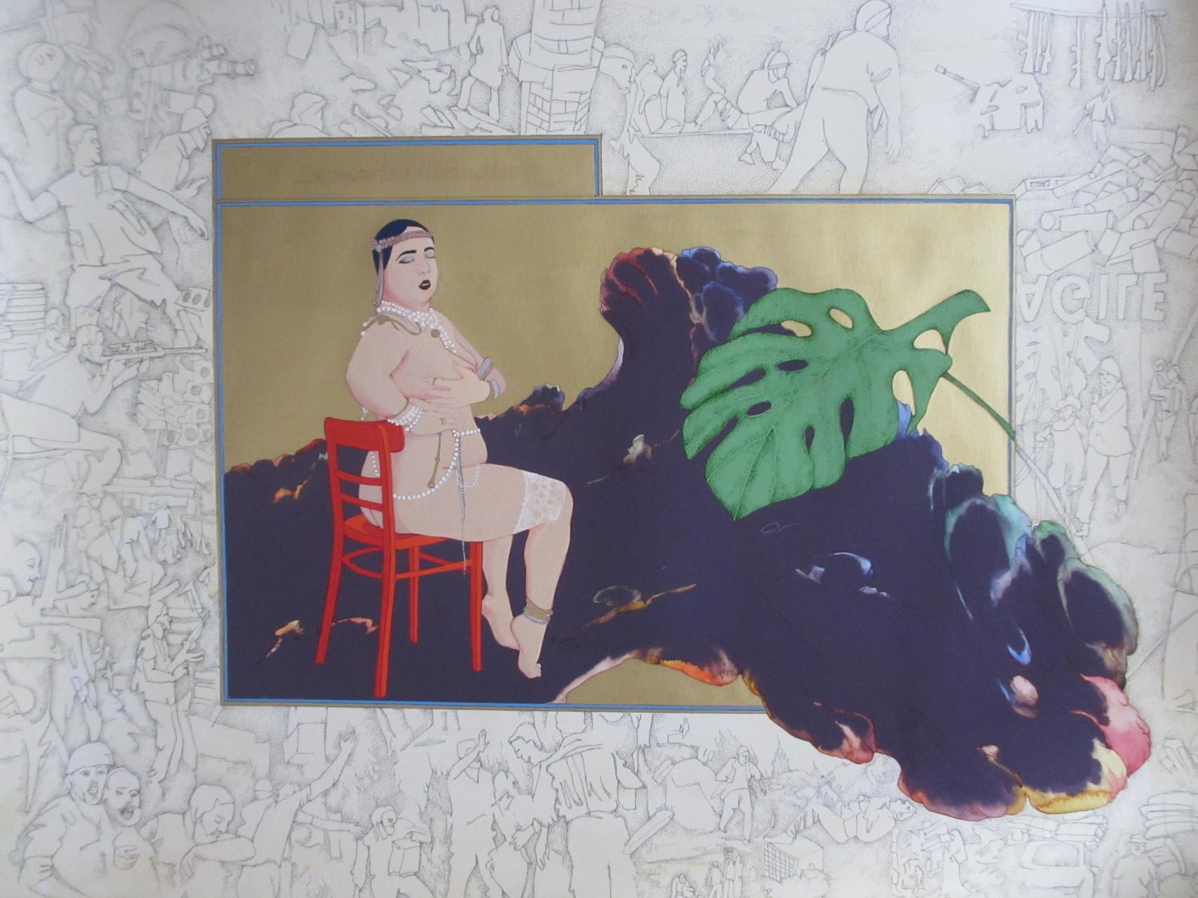 """""""La mariée libanaise"""", 2015, 75x55, encre noire, gouache, aquarelle sur papier Vinci ©"""