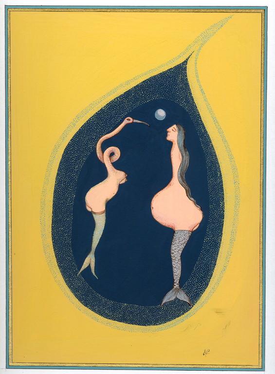 """""""face à toi"""", 2004, 23x30, gouache et aquarelle sur papier  ©"""
