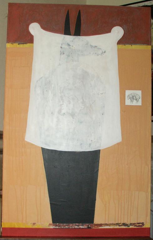 """""""sans titre"""", 116x73, acrylique, pastel gras, mine de plomb, fil rouge sur toile ©"""
