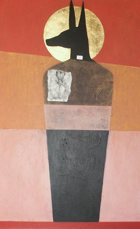 """""""sans titre"""", 116x73, acrylique, pastel gras, collage, feuille d'or sur toile ©"""
