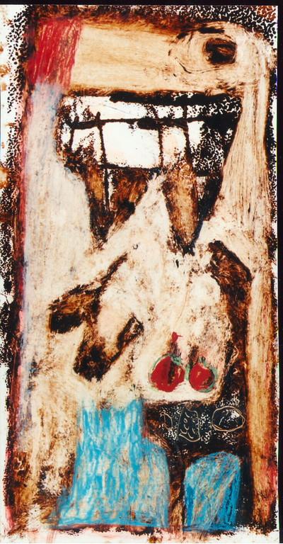 """""""sans titre"""", 1994, 16x30, monotypes, tempera sur papier  ©"""