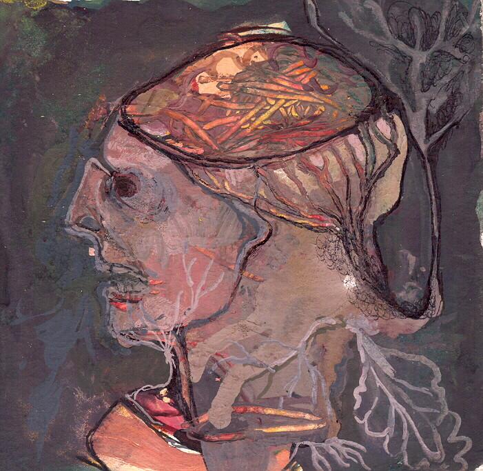 """""""paysage anatomique n°6"""", 2001, 9x9, gouache sur papier marouflé sur bois  ©"""