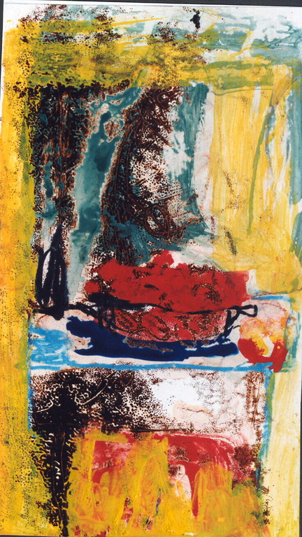 """nature morte aux tomates"", 1994, 16x30, monotypes, tempera sur papier  ©"