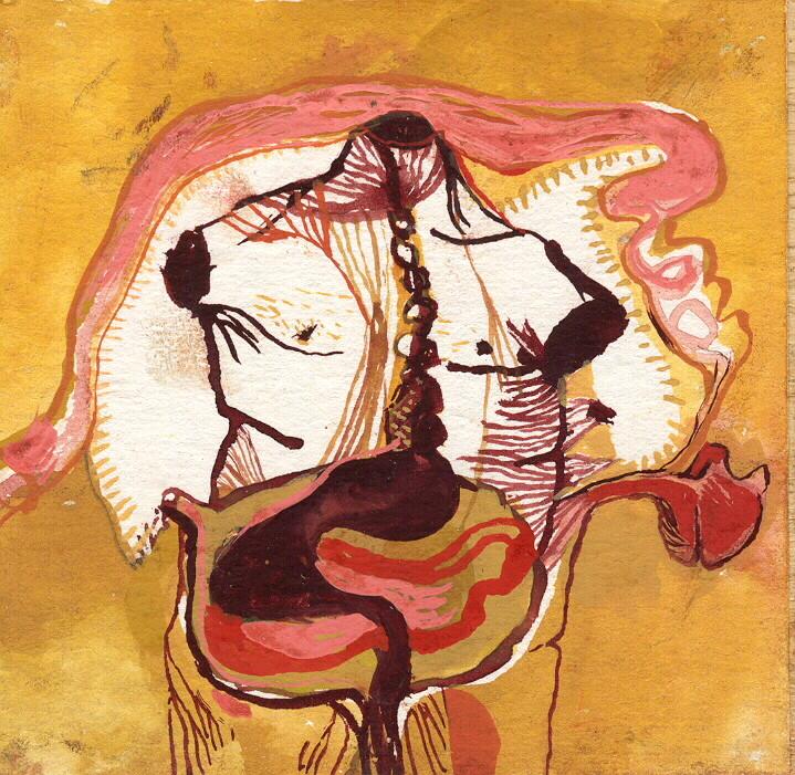 """""""paysage anatomique n°4"""", 2001, 9x9, gouache sur papier marouflé sur bois  ©"""