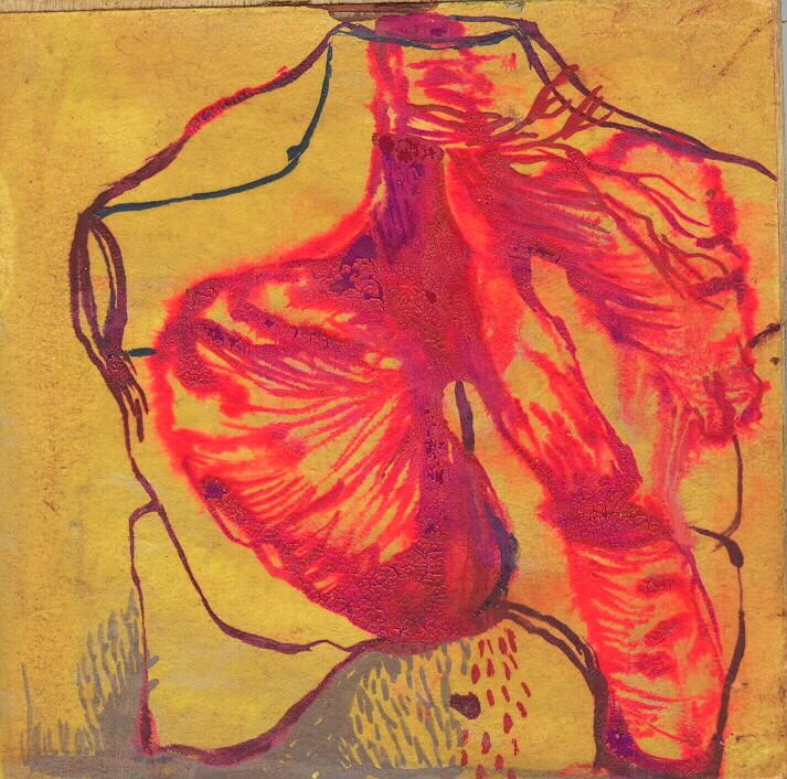 """""""paysage anatomique n°3"""", 2001, 9x9, gouache sur papier marouflé sur bois  ©"""