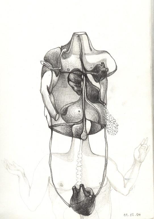 """""""l'enveloppe antomique"""", 2001, 17x25,  mine de plomb sur papier"""