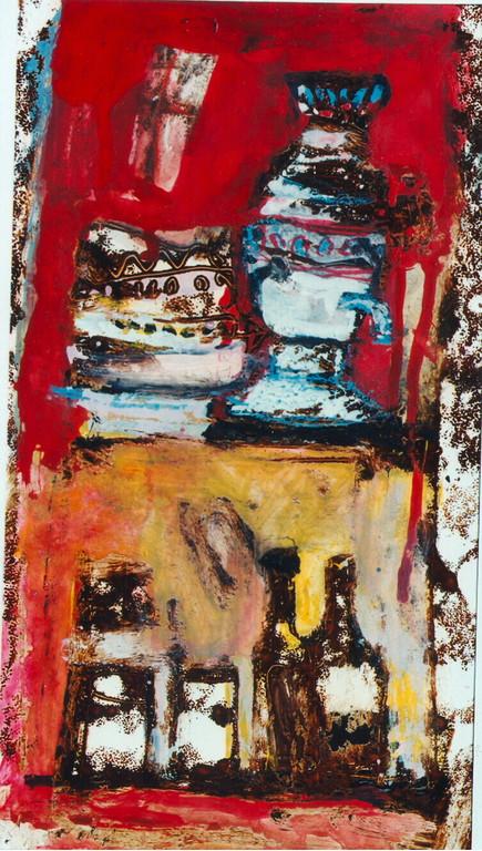 """""""le samovar"""",1994, 16x30, monotypes, tempera sur papier  ©"""