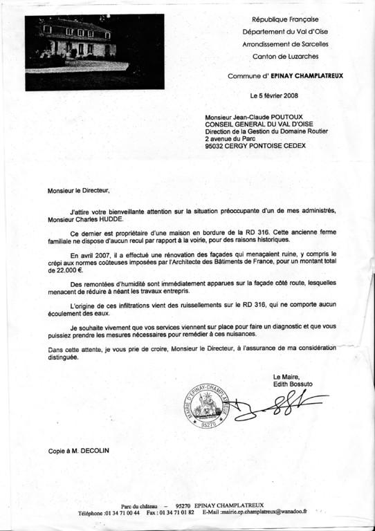 lettre de notre maire adressée au conseil général