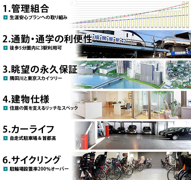 管理組合 通勤通学の利便性 眺望は隅田川と東京スカイツリー 上質でデザイン性に富む建物 自走式駐車場  駐輪場の豊富な設置