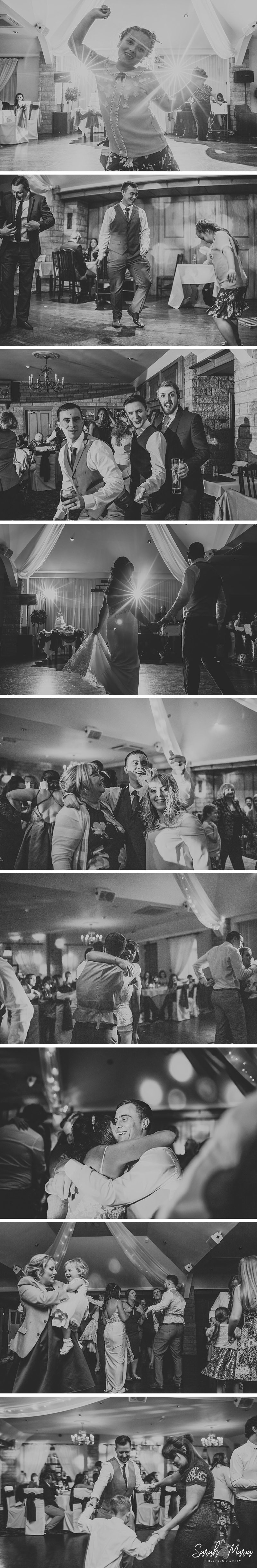 black and white photographs of wedding guests having fun and dancing