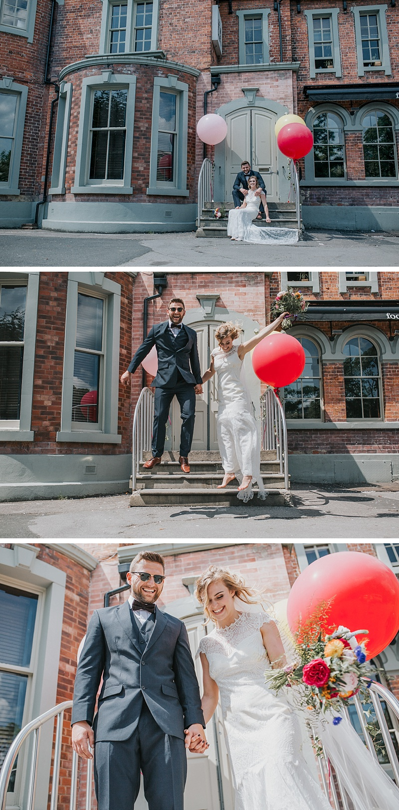 bride and groom portraits at the front of the faversham wedding venue in Leeds