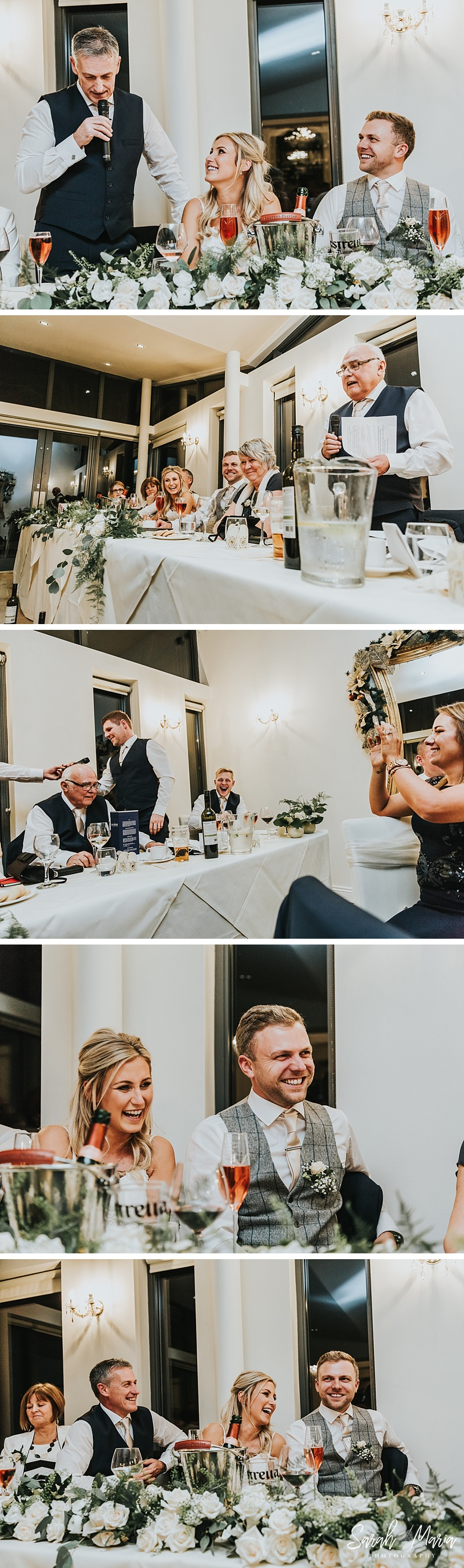 wedding speeches showing everyone laughing