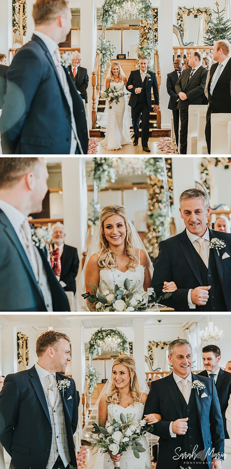 bride and groom see each other for the first time on their wedding day