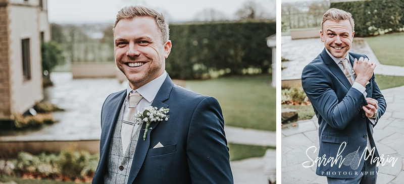 two portraits of a groom in a blue suit on his wedding day