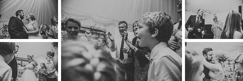people having fun at a marquee wedding in Lancashire