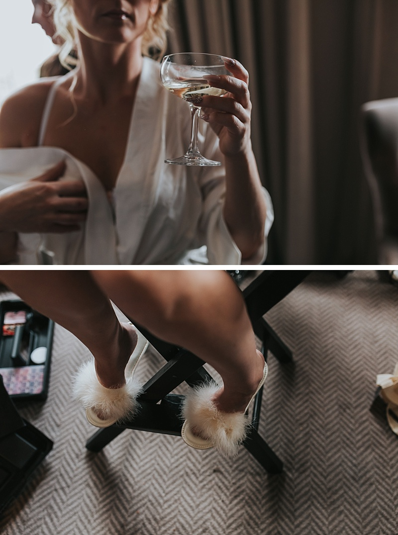 champagne glass and fluffy marabou slippers
