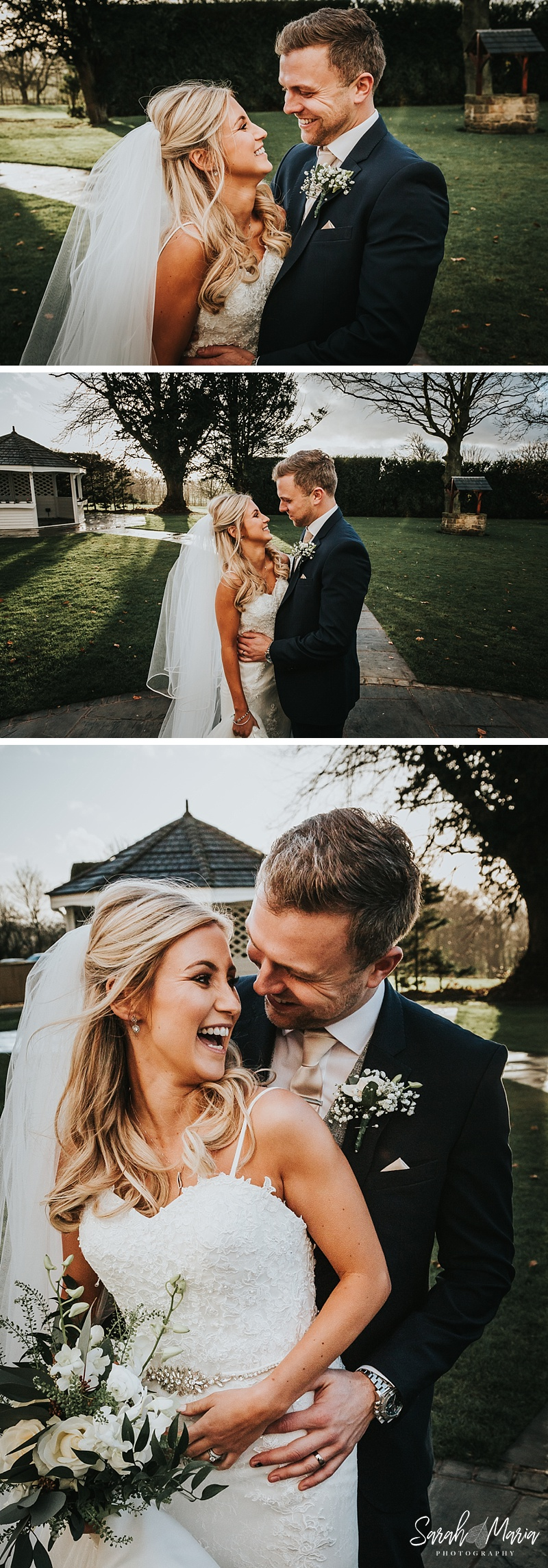 bride and groom portraits in the winter sun
