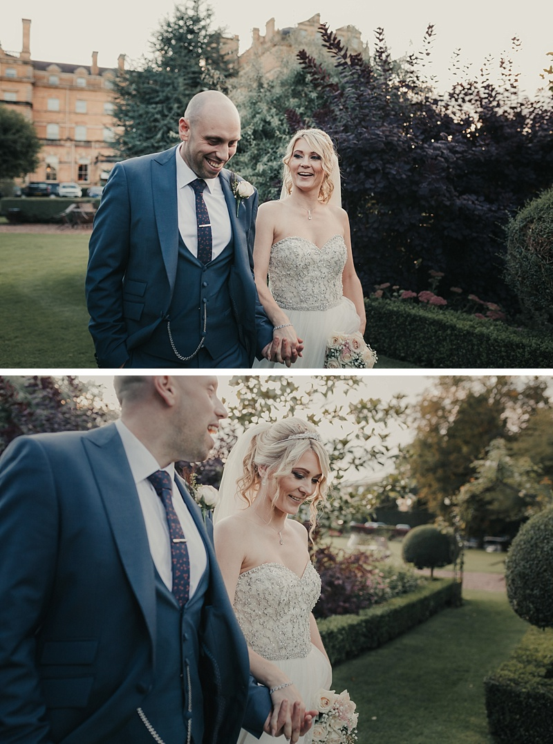 natural shots of a bride and groom in the garden of the principal York hotel