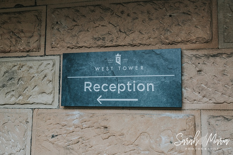 West Tower Wedding Venue Reception sign