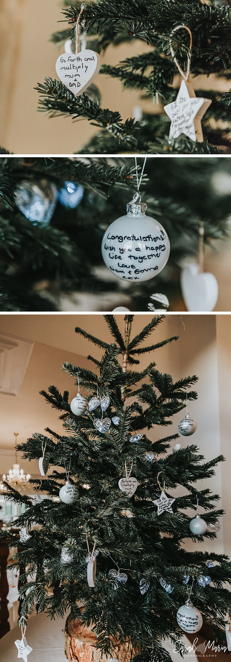 Christmas tree with baubles. An alternative idea for a wedding guest book