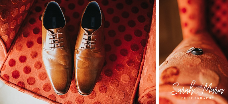photographs of a grooms shoes and their wedding rings