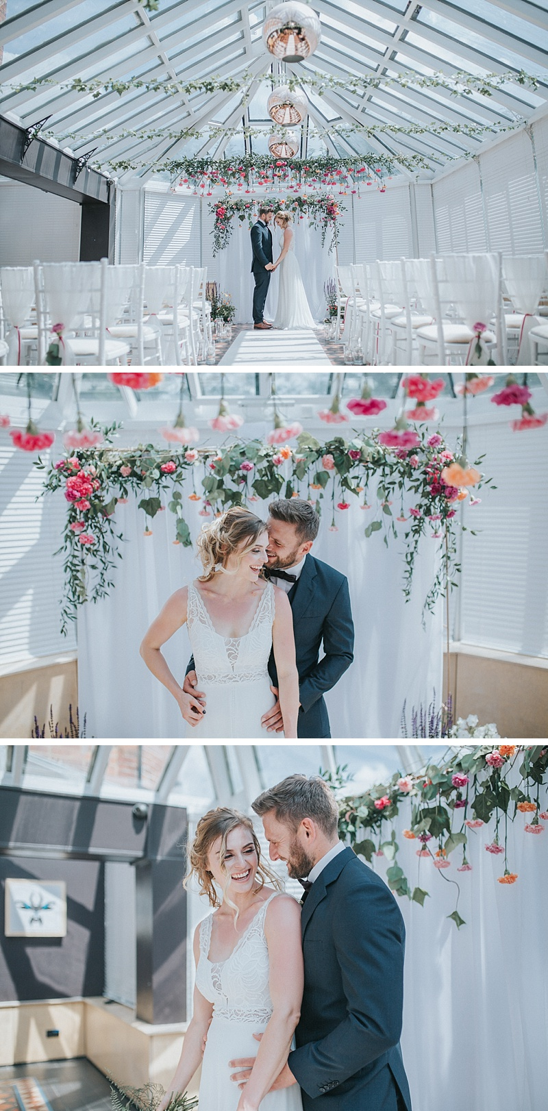 bride and groom portraits in the conservatory of the faversham